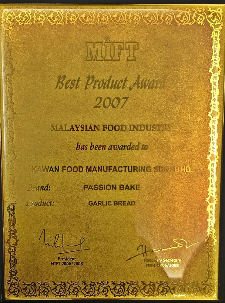 Best Product Award for Garlic Bread by Malaysia Institute of Food Technology (MIFT)